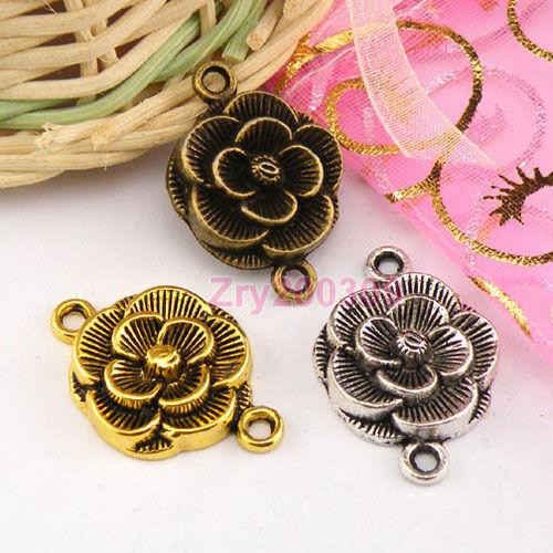 10Pcs Tibetan Silver,Gold,Bronze Flower Connectors Charm Pendants M1300