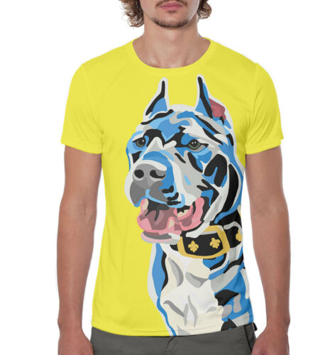 Pit Bull cool print tee pitbull dog breed yellow color t-shirt