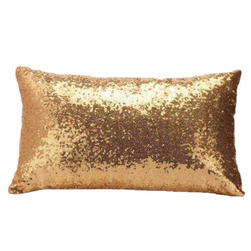 Solid Color Sequins Cushion Glitter Cover Throw Pillow Case Decor 30cm x 50cm