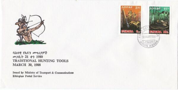 Contemplatif Ethiopie: 1988: Traditional Hunting Tools, Fdc Disponible Dans Divers ModèLes Et SpéCifications Pour Votre SéLection