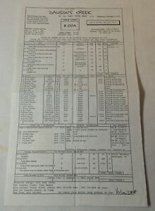 DAWSON'S CREEK set used CALL SHEET ~ Season 6, Episode 12