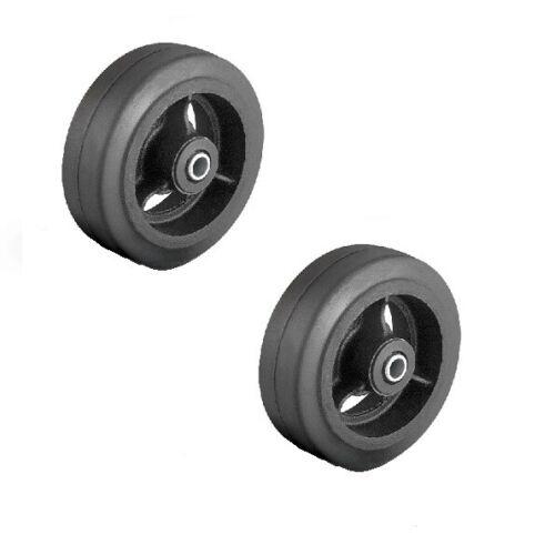 "Set of Two 6/"" x 2/"" Rubber molded on steel hub wheels 1//2/"" ID bushing"