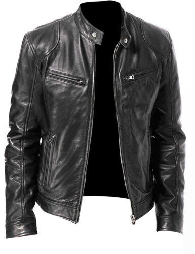 B21 Mens Black Leather Jacket Genuine Sheep Lamb Leather Biker Style