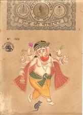 Ganesh Hindu Art Handmade Indian Religion Miniature Ganesha Stamp Paper Painting