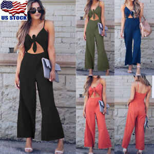 Women-Sexy-V-Neck-Backless-Bowknot-Loose-Wide-Leg-Pants-Jumpsuit-Romper-Playsuit