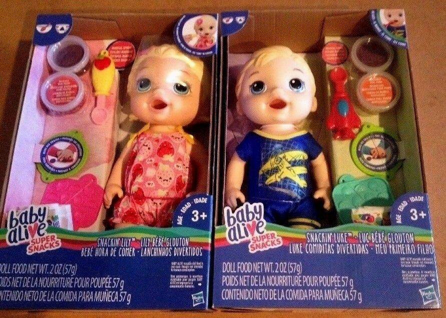 HASBRO BABY ALIVE 2PCS BOY & GIRL (TWINS) SNACKIN LILY, SNACKIN LUKE DOLLS