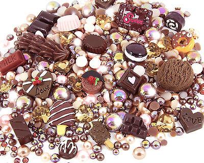 Chocoholic Kawaii Cabochon Rhinestone Pearl Set Kit DIY Decoden Kawaii Craft Mix