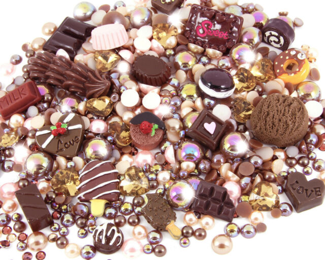 Set Perle di Strass Fai da Te Chocoholic Kawaii Cabochon Decoden Kawaii Craft