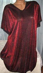 Red-Black-Metallic-Semi-Sheer-Oversized-Sleepshirt-Short-Gown-S-M-Nylon