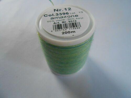Madeira Lana Embroidery Thread 200 m spool Multi Green Colour Number 3396