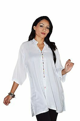 Tunic Shirt Caftan Kaftan Linen Blouse Summer Women Top Dress Moroccan Large New