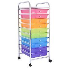 10 Drawers Rolling Storage Cart Scrapbook Paper Office School Organizer Rainbow