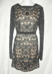 Details About New Twelfth St For Cynthia Vincent Black Illusion Lace Dress 6 398