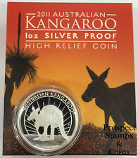 2011 Australian Kangaroo High Relief 1oz Silver Proof Coin