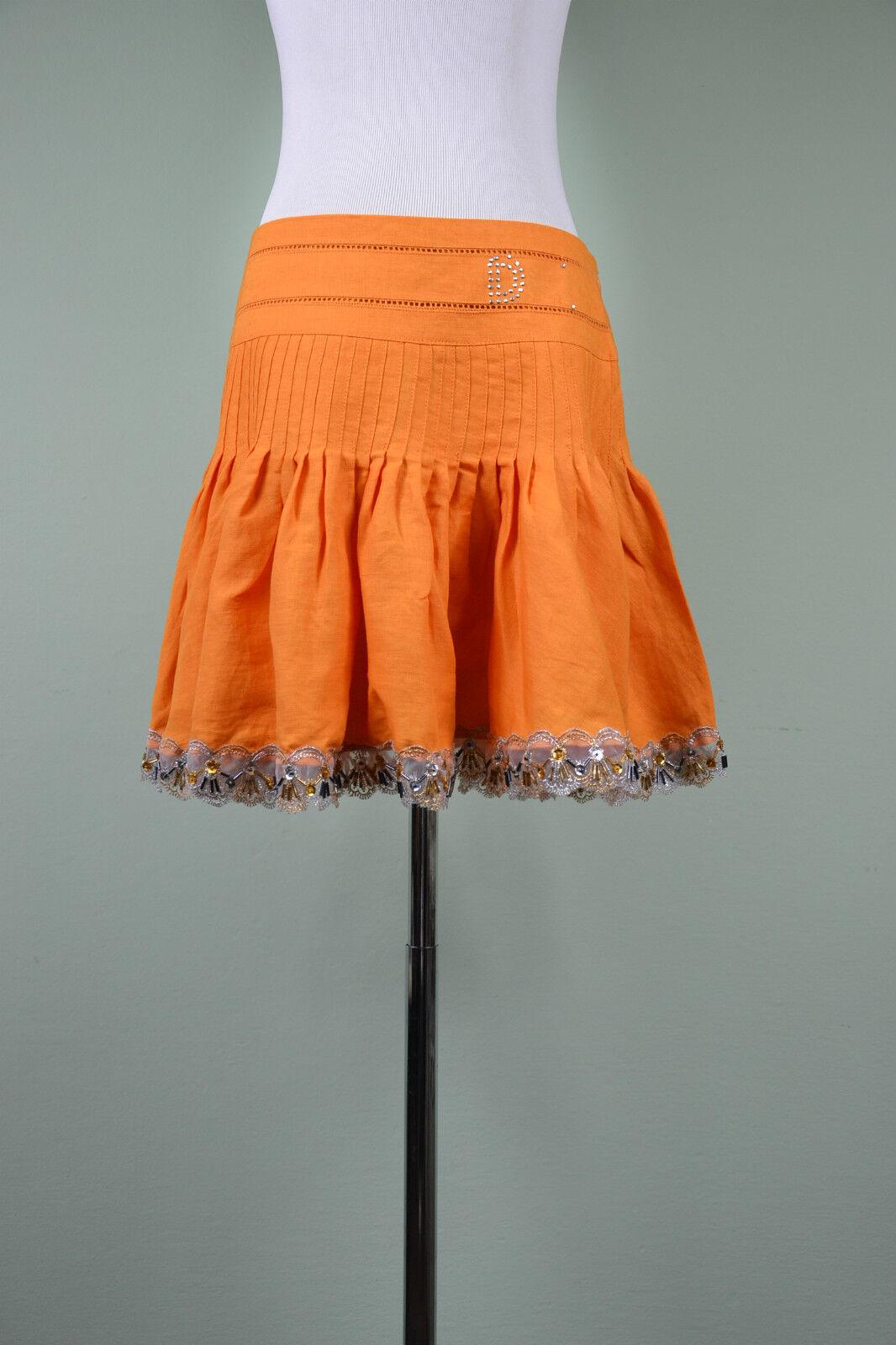 Italian Womens Vtg Retro 90s orange 100% Linen Ruffle Flared Calf Skirt sz M LW