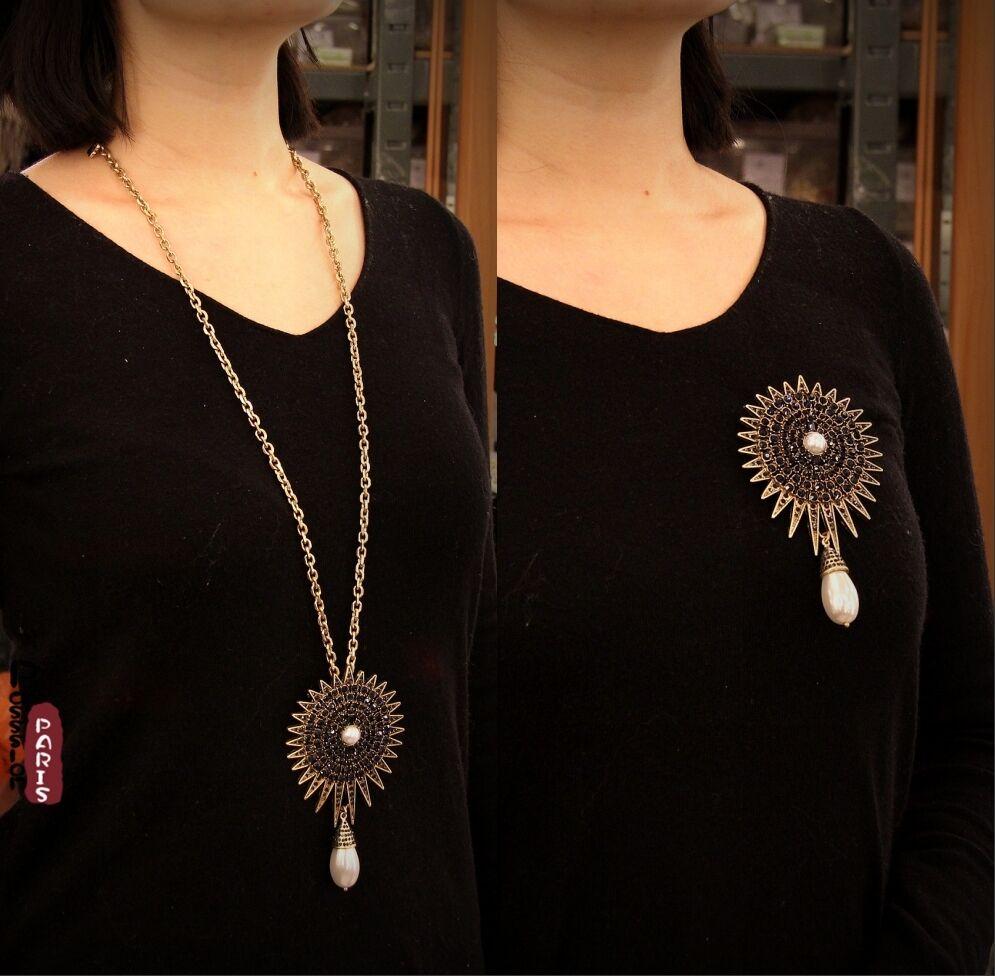 Halskette Brosche Halskette Anhänger blueme Sonne blue Perle Tropf Runde OSC 3