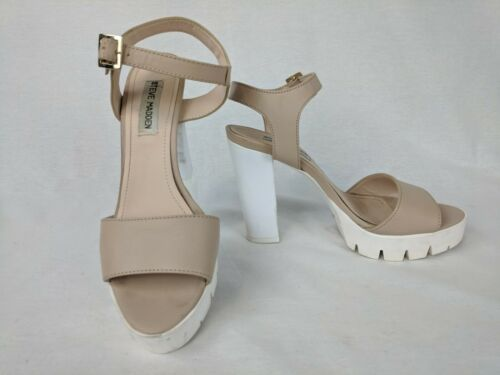 STEVE MADDEN TRAVISS BEIGE & WHITE RUBBER CLEATED