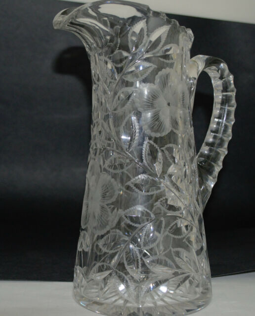 VINTAGE AMERICAN BRILLIANT PERIOD CUT GLASS WATER  PITCHER