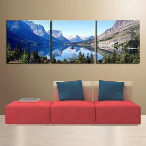 glacier national park ready to hang triptych mounted canvas