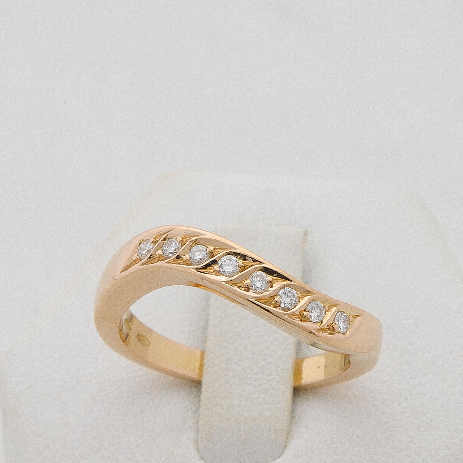 ANELLO VERETTA OBLIQUE IN gold pink 18 KT 750 DIAMANTI TAGLIO BRILLANTE 0.16 CT