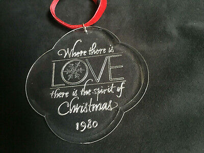 """Hallmark Ornament Acrylic 1980 Where There Love Spirit of Christmas About 4/"""" Hig"""