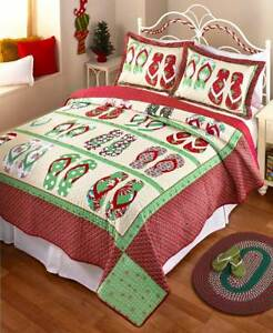 Flip Flop Holiday Christmas Quilt Bedding Coastal Beach Print ... : holiday bedding quilts - Adamdwight.com