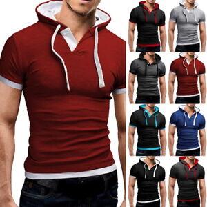 FASHION-Uomo-Colletto-T-Shirt-a-Manica-Corta-Muscolo-Sling-Felpa-con-cappuccio-Con-cappuccio-Tee