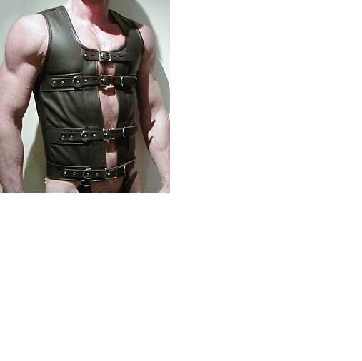 Real Black Leather FULLY LOCKABLE Bondage Male Corset Cincher (M5)