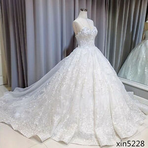 Image Is Loading Bling Lace White Princess Bridal Ball Gowns