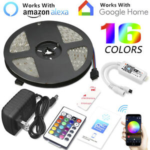 16-4ft-150LED-Alexa-Smart-Home-WIFI-Wireless-RGB-Waterproof-Strip-Neon-Light-Kit