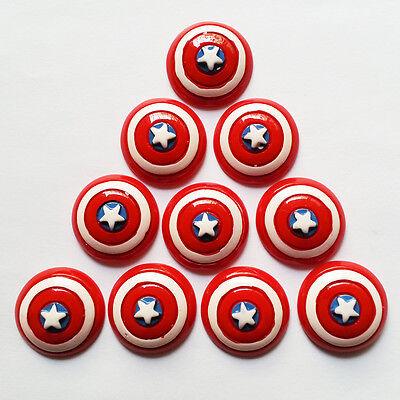 Lot 10 pcs Avengers Captain America Shield Resin Cabochons Flatbacks Crafts