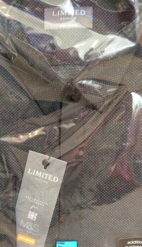 M/&S Nero testurizzato Camicia Con Piccolo Bianco Stitches IN SUPER SLIM FIT-NUOVA CON ETICHETTA