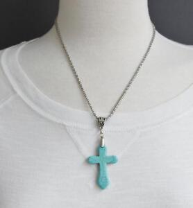 Turquoise-cross-necklace-cross-pendant-silver-chain-18-20-5-034-long-necklace