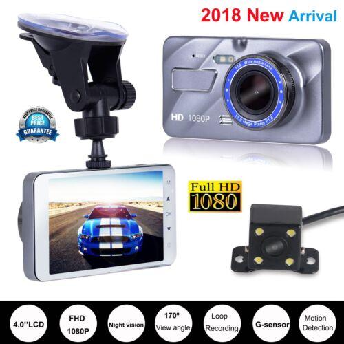 Full HD 1080P 4/'/' LCD Car DVR Dual Lens Camera Dash Cam Video Recorder G-sensor