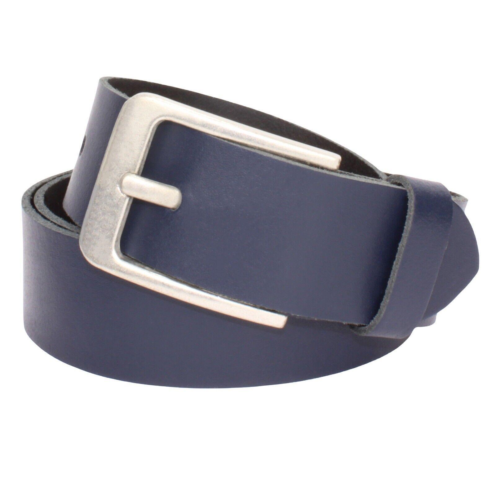 Gürtel Damen Herren Blau Rindleder 4cm Breit Ledergürtel 100% echt Leder Neu