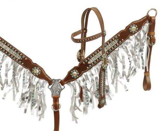 Showman Teal Rhinestone Inlay spelling 'Turn & Burn' Headstall Breast  Collar  designer online