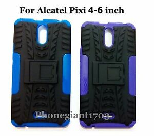 timeless design 5a790 22ef2 Details about Shock Proof Heavy Duty Armour Hybride Case Cover For Alcatel  Pixi 4(6 inch)-3G