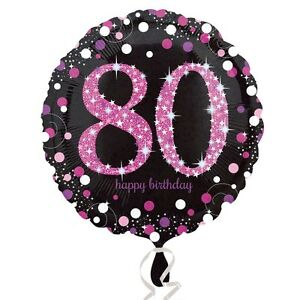 Image Is Loading 18 034 Round PINK 80th BIRTHDAY Foil Helium