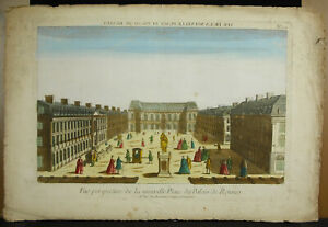 Print-18th-Parliament-Brittany-Palace-Reindeer-Place-Statue-Equestrian-Louis-XIV