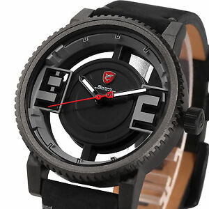 Shark Men''s Hollowed-out Dial Leather Stainless Steel Sport Quartz Wrist Watch