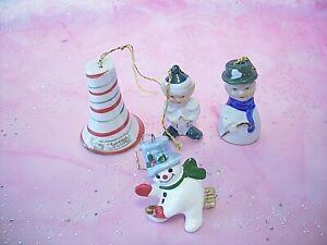 RARE-VTG-Napco-Christmas-Miniature-Snowman-Elf-Star-Cane-Ornament-Bells-Figurine