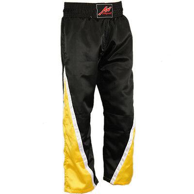 Playwell Full Contact 100/% Satinado Kick Boxing Champion Pantalones Negro//Rojo
