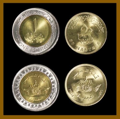 2015 Comme Egypt 50 Piastres /& 1 Pound Suez Canal Bimetallic 2 Pcs Coin Set