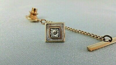 14K Yellow Gold Square Tie Tac with Diagonal Line Details