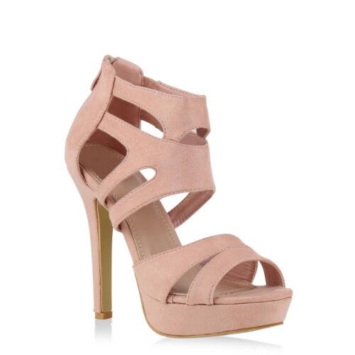 Damen Sandaletten Plateau High Heels Cut-outs Stilettos 896001 Trendy