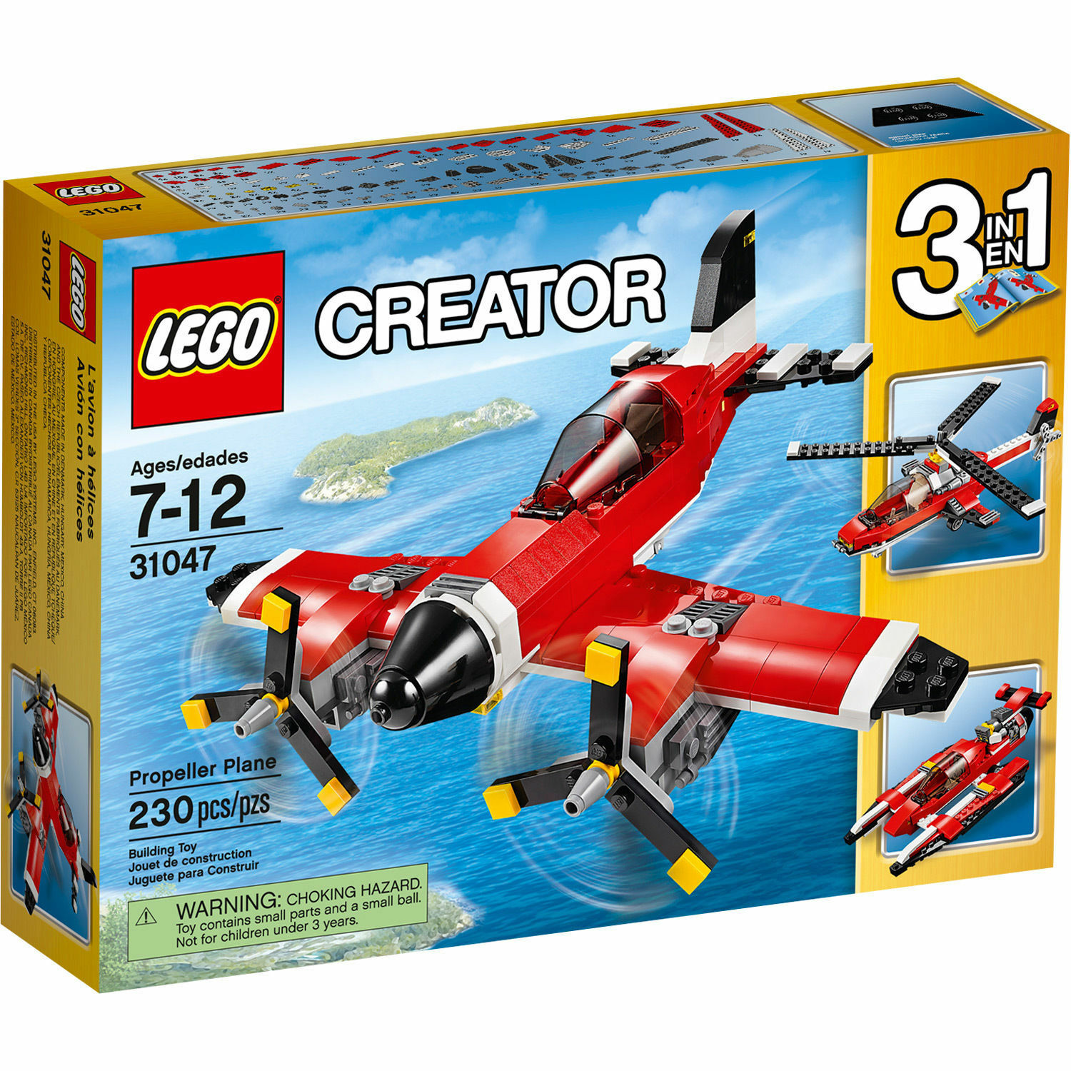 31047 PROPELLER PLANE lego creator NEW LEGOS set 3 in 1 HELICOPTER HYDROPLANE