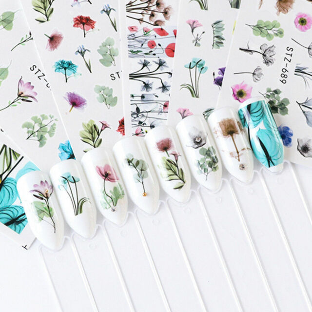 24Sheets Nail Art DIY Stickers Watercolor Water Transfer Decals Flowers Tips Kit