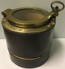 Rare Art Deco Alfred Dunhill Humidor Brass Ship Top & Leather & Matching Ashtray
