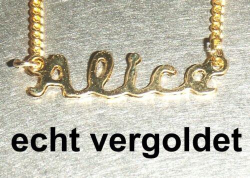 Noble collar cadena Alice real dorado nombres nombre Collier nombre cadena nuevo