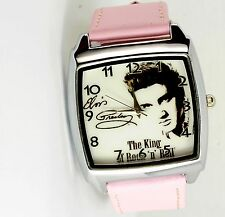 ELVIS PRESLEY WATCH Steel LEATHER MUSIC KING LEGEND SQUARE CD PINK BAND WATCH E1